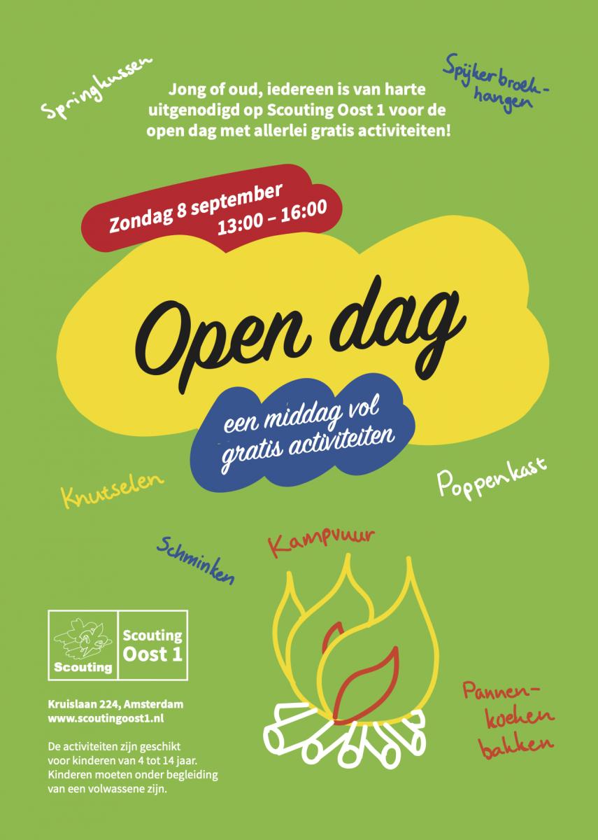 Jong of oud, iedereen is van harte uitgenodigd op Scouting Oost 1 voor de open dag met allerlei gratis activiteiten